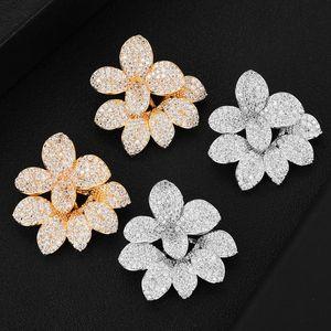 GODKI Luxuxblume Ohrringe für Frauen Hochzeit Shinning + Full Mirco Zirkonia Pave Mode Ohrring Schmuck