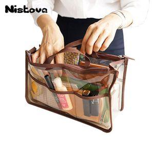 أكياس التجميل الحالات ماء واضح حقيبة يد المنظم سستة مزدوجة انظر من خلال إدراج محفظة المنظم شفافة ماكياج السفر الحقيبة