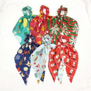 Diseñadores Navidad Bowknot Elástico Cabello Elástico Bandas Pelo Halloween Long Ribbon Ponillo de caballo Titular de la cola Anillo de pelo para mujeres Accesorios para niñas D82010