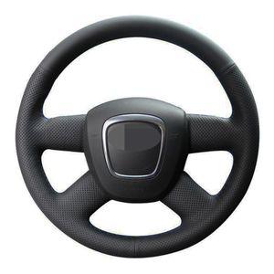 Cuoio sintetico Steering Wheel car copertina Fai da te nero cucito a mano per Audi A6 (C6) A3 (8P) Sportback A4 (B8) A4 (B7)