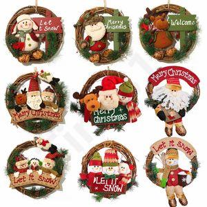 Coroa de Natal 33 centímetros Xmas Rattan Porta Presentes de Natal Vine Anel da flor de parede Garland Snow Man de Santa Decoração 30pcs T1I2246 de suspensão