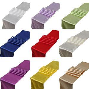 30 * 275 cm satin Chemin de table de couleur unie Jupettes Table couverture Fête de mariage Violet Noir Rouge Blanc Parti Hôtel Table Décoration DHB1506