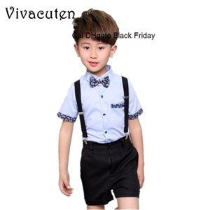 Children Boys Set 2019 Summer 2-13Y Kids Boys Suit Blouse Tops Shorts Overalls 2 Pcs Outfits Costume Baby Boys Clothes Sets F076