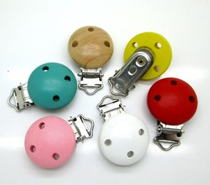 10Pcs Mixed Color Metal Wooden Baby Pacifier Clips Solid Color Holders Cute Infant Soother Clasps Holders Accessories Diy Tool
