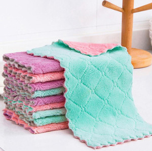 Microfiber Kitchen Towel Absorbent Dish Cloth Non-stick Oil Washing Kitchen Rag Household Tableware Cleaning Wiping Tools AAB1101