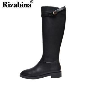 RIZABINA 2020 Black Women kniehohe Stiefel echtes Leder Runde Zeheebenen Winterstiefel Ritter Schuhe Größe 33-40