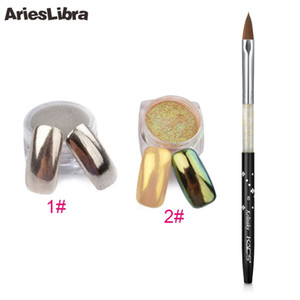 AriesLibra Nail Art Set 8 # Черный Kolinsky Sable кисти Профессиональные картины акриловые Nail Gel Brush Зеркало Powder Dust Set