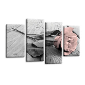 4Pcs Gift Canvas Rose Floral Retro Living Room Home Decor Rectangle Wall Picture