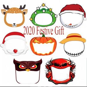 2020 Маски Мода Anime Kids Party Face Shield Clear Мультфильм Шаблоны Рождество Хэллоуин Новый год Косплей Costum Защитные маски