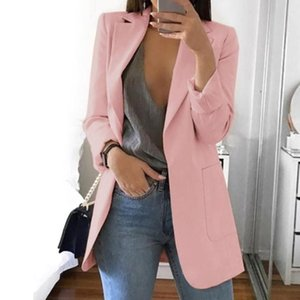 Casual All-Match Long Sleeve Turn-down Collar With Pockets Daily Wear Solid Slim Fit Club Party Women Blazer Outerwear Work