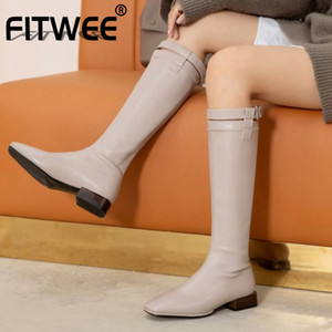 FITWEE Femmes hiver Bottes bout carré Femmes Cuissardes mode Chaussures fraîches quotidien Chaussures Taille 31-43