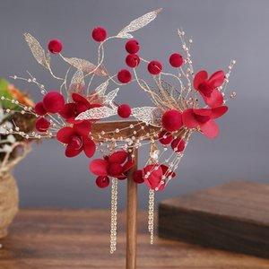 AMxWz nuptiale Weddi chinois rouge floral nouveau 2020 vêtements toast coiffure bande cheveux accessoires coiffure fleur super bande de cheveux de mariage kA4gO