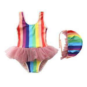 INS rainbow girls swimwear+hats 2pcs set baby One-piece swimsuit girls bikini Baby Swimwear Kids Bathing Suits Swim Suits B2022