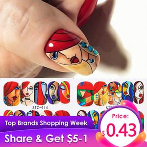 1pcs de uñas pegatinas Línea abstracta imagen Agua Sliders La cara de colores de uñas de arte transferencia de la etiqueta manicura Wrap Decoración JISTZ906-921