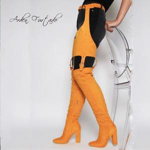 Sapatos Inverno Personalidade Sapato de bico fino Arden Moda Mulheres de Furtado sobre o joelho alta botas Chunky Heels Zipper calças sexy botas