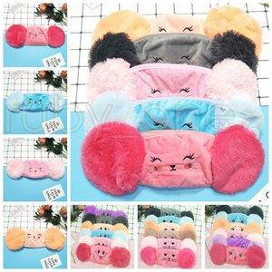 Дети 2 в 1 Face Mask Дети Мультфильм Плюшевые Earmuffs Маски пыле моющийся Winter Warm Protective Дизайнерские Маски RRA3423