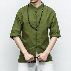 Summer new Chinese style short-sleeved shirt material linen cotton shirts loose button-down dropshipping hot sale soft clothes