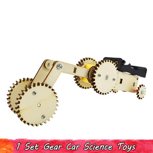 1 Set Wooden Forward and Backward Gear Car Science Toys Physics Experiment Set DIY Electric Kit Gear Transmission Kids Educational Toys