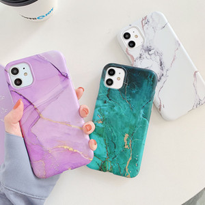 Colorful Marble Crack Matte Phone Cases For iphone 11 Pro Max SE 2020 XS Max XR X 7 8 Plus Case Cover Silicone Soft TPU IMD Back