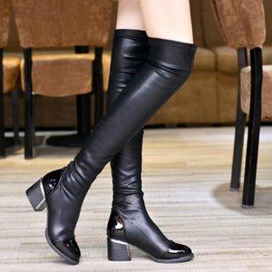 Cuoio superiore dell'unità di elaborazione di resilienza Boots donne sopra gli stivali al ginocchio Slip On spessi della piattaforma dell'alto tallone della coscia signore Fashion Shoes