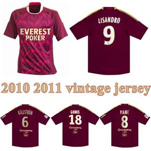 2010 2011 Lyon Retro Soccer Jersey 10 11 Lyonnais Lisandro Gourcuff Gomis Pjanic Lacazette Toulalan Vintage Classic Football Shirt
