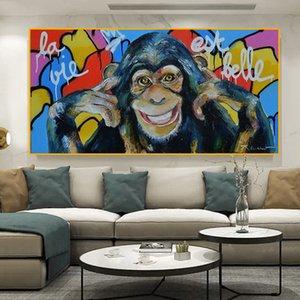 Dipinti Graffiti Scimmia divertente Wall Art Canvas Prints Animali Pop Art Canvas parete Decora Immagini per Kids Room Large Size T200904