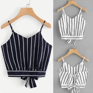 Crop Top V Neck Striped Summer Tops For Women 2020 Cotton Blended Blouse Tank Tops Womens Clothing Camisole