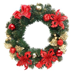 40cm Christmas Hanging Wreath Garland Glitter Flower Ball Cone Xmas Ornaments Window Door Christmas Decoration for New Year