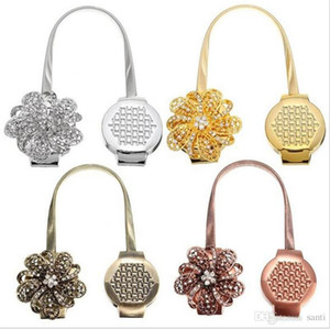 Entretien ménager Or Argent Fleur Fil Rideaux Embrasse Aimant rideaux Boucle Porte-rideau magnétique rideau Bracelet Accessoires