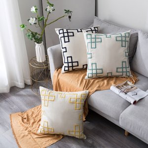 50x50cm Thicken Cotton Linen Geometric Embroidery Sofa Decoration Cushion Cover Home Bedroom Pillowcase