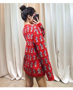 Tile Style Pig Print Clothes Brand Red Casual Warm Knitwear Fashion Womens Sweaters Cardigan With Designer