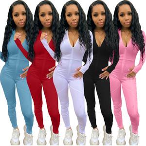 novo Designer Mulheres Jumpsuit Sólidos Frontal Zipper Body Shaping manga comprida calças casuais dividir costura macacãozinho Ladies Onesies Casual