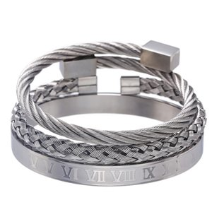 High-End Cross-Border Hot Ornament Retro Cool All-match Roman Letter Woven Square Stainless Steel Bracelet Set Men