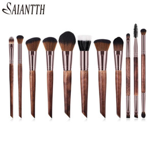 SAIANTTH 11pcs nature wood coffee tube Makeup Brushes Set kit pincel maquiagem double head eyelashes make up brochas foundation