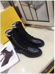 Siyah motosiklet Boot'un örgü F baskı logosu bez deri Martin botları elastik kumaş kollu bayan ayakkabı