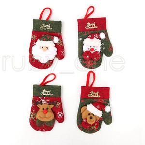 Navidad cubiertos Tenedor Cuchara Vajilla Bolsas Guantes de la cubierta del sostenedor de Navidad comedor Vajilla Decoración de Navidad Decoración RRA3527