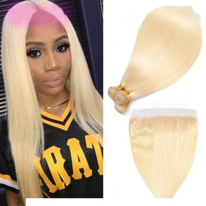 H Brazilian Virgin Hair Extensions 613 #Blonde Silky Straight Body Wave Human Hair Bundles With 13x4 Lace Frontal 4pieces Lot Straight