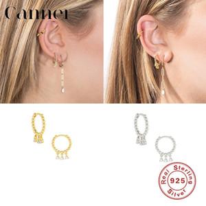 Canner 925 Sterling Silver Hoop Earrings Zircon Gold Silver Color Earrings For Women Fine Jewelry Pendientes De Mujer W4
