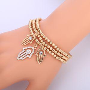 Ouro mal Pulseira olho turco CZ cristal charme pequena Mão de corrente Hamsa Pulseiras para Mulheres Elastic Moda Bead Jóias Presentes