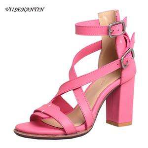 Summer new sandal shoe open toe cross belt shoe handmade toe rivet thick sexy high heel sandals runway shoes