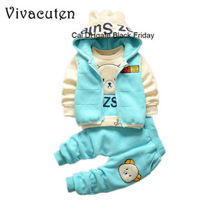 Baby Boys Clothing Sets Winter Children Girls Cartoon Bear Cotton Wool Warm Thicken Sweatshirt Coat Hooded Vest Pants 3Pcs Suit