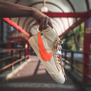 Nike Blazer x blanco roto la víspera de Todos los Santos Estudio mediados de hombres del diseñador retro de las zapatillas de deporte Big Logos para niños top del alto de los zapatos de baloncesto al aire libre