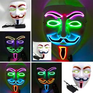 V слово Вендетта маска для лица Хэллоуин четыре-цветного свет линии Светодиодных световой маски холодного света фестиваля реквизит партия маска Dropshipping F1201