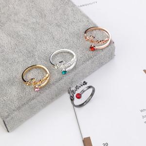 Lateefah Free Size New Custom Ring Personality-Name Ring Individuelle Typschild Ring Geburtstag Steinringe für Frauen Geburtstags-Geschenke