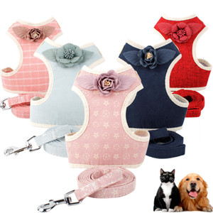 Fashion Flower Pet Harness Dog Leash Set Air Nylon Mesh Puppy Small Dogs Cat Vest Flower Clothes Accessories Dog Vest Chihuahua