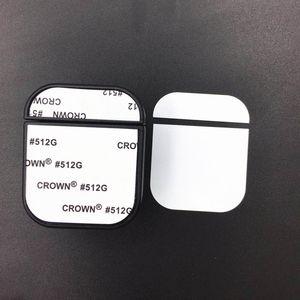 Caso de sublimação em branco para Apple Airpods 1 2 Pro fones de ouvido sem fio Capa de plástico dura com placa de alumínio imprimível Instert