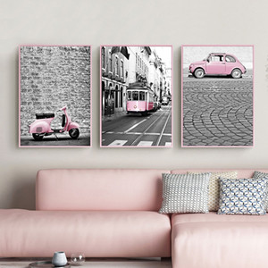 Nordic Pink Girl Series Canvas Painting Black And White Pictures Car Train Poster Print Decoration For Living Room Home Decor