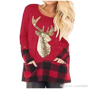 Sequins Reindeer Plaid Panelled Print Womens Tees Plus Size Platform Females Clothing Merry Christmas Womens Designer Tshirts Fashion