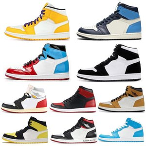AIRE Sin Miedo NakeskinJordan 1s 1 zapatos de baloncesto de los hombres retros de las mujeres del dedo del pie COUTURE prohibidos Bred Obsidiana Unión Entrenadores j1 Deportes zapatillas de deporte