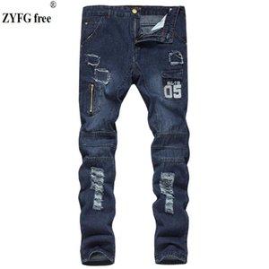 ZYFG libre de los hombres de moda los agujeros de la cremallera de la personalidad ocasional de los pantalones vaqueros pantalones vaqueros decorar juveniles pantalones largos los hombres de gran tamaño